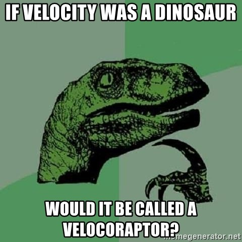 Philosoraptor - If Velocity was a dinosaur Would it be called a Velocoraptor?
