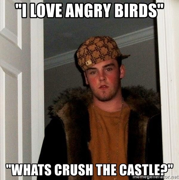 "Scumbag Steve - ""I love angry birds"" ""whats crush the castle?"""