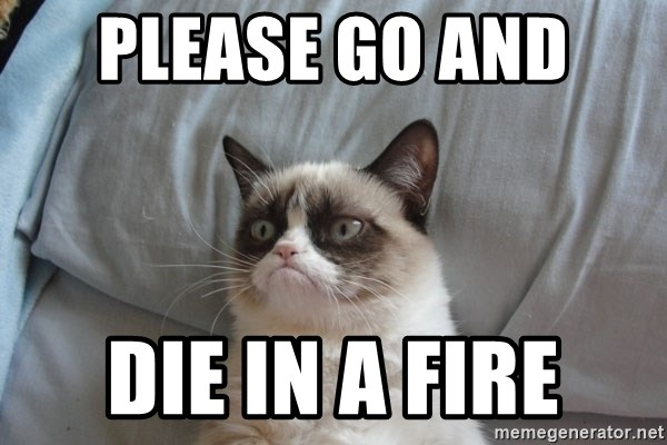 Grumpy cat good - Please go and  die in a fire