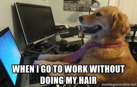 I have no idea what I'm doing - Dog with Tie -  WHEN I GO TO WORK WITHOUT DOING MY HAIR