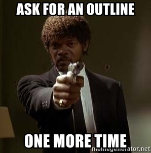 Jules Pulp Fiction - Ask for an outline one more time