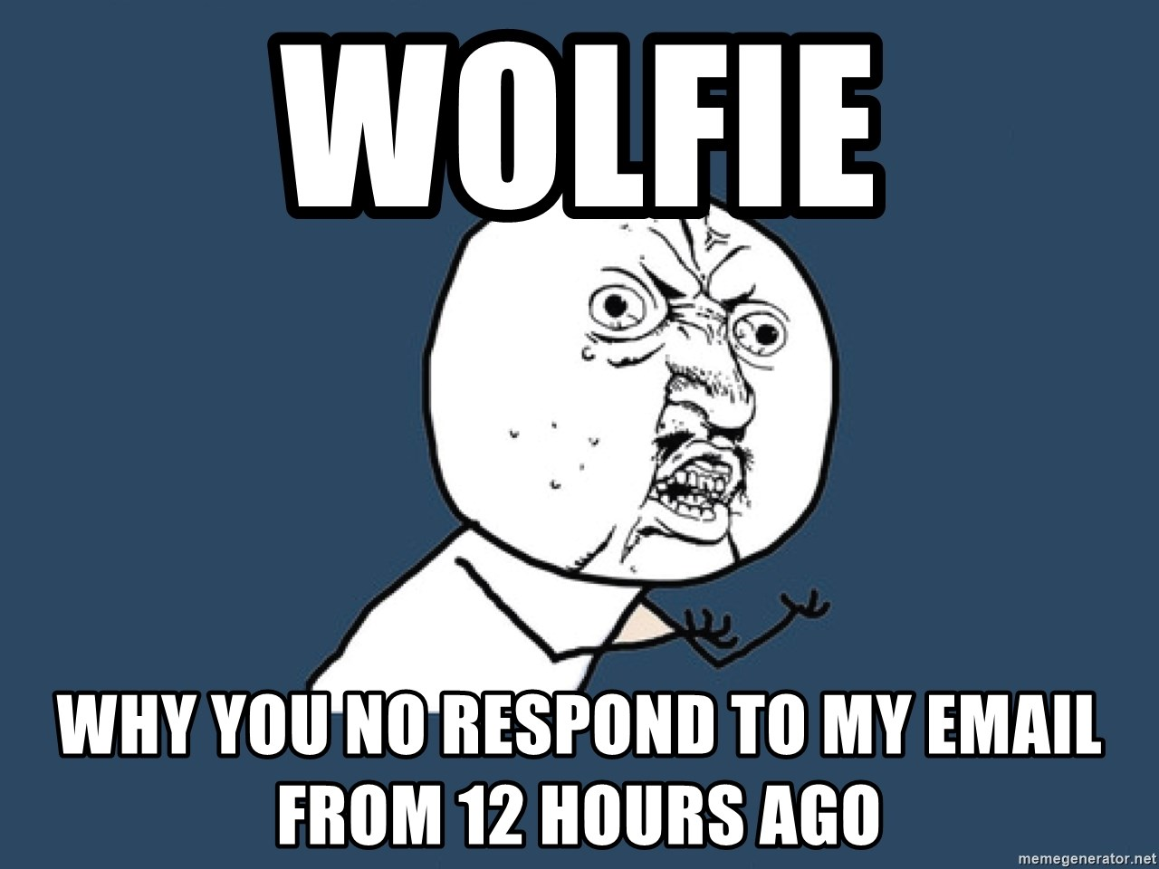 Y U No - Wolfie why you no respond to my email from 12 hours ago