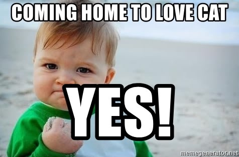 fist pump baby - Coming home to love cat Yes!
