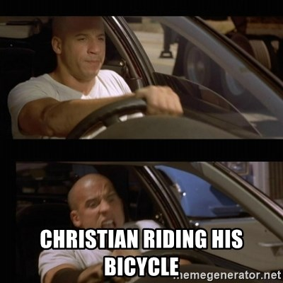 Vin Diesel Car -  christian riding his bicycle