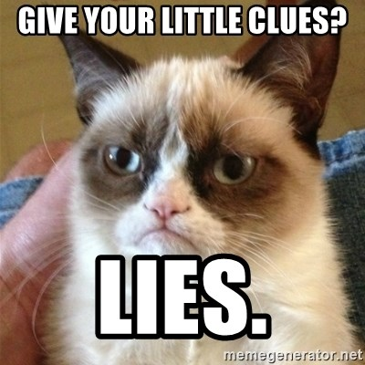Grumpy Cat  - GIVE YOUR LITTLE CLUES? LIES.