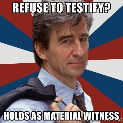 Jack McCoy - Refuse to testify? holds as material witness