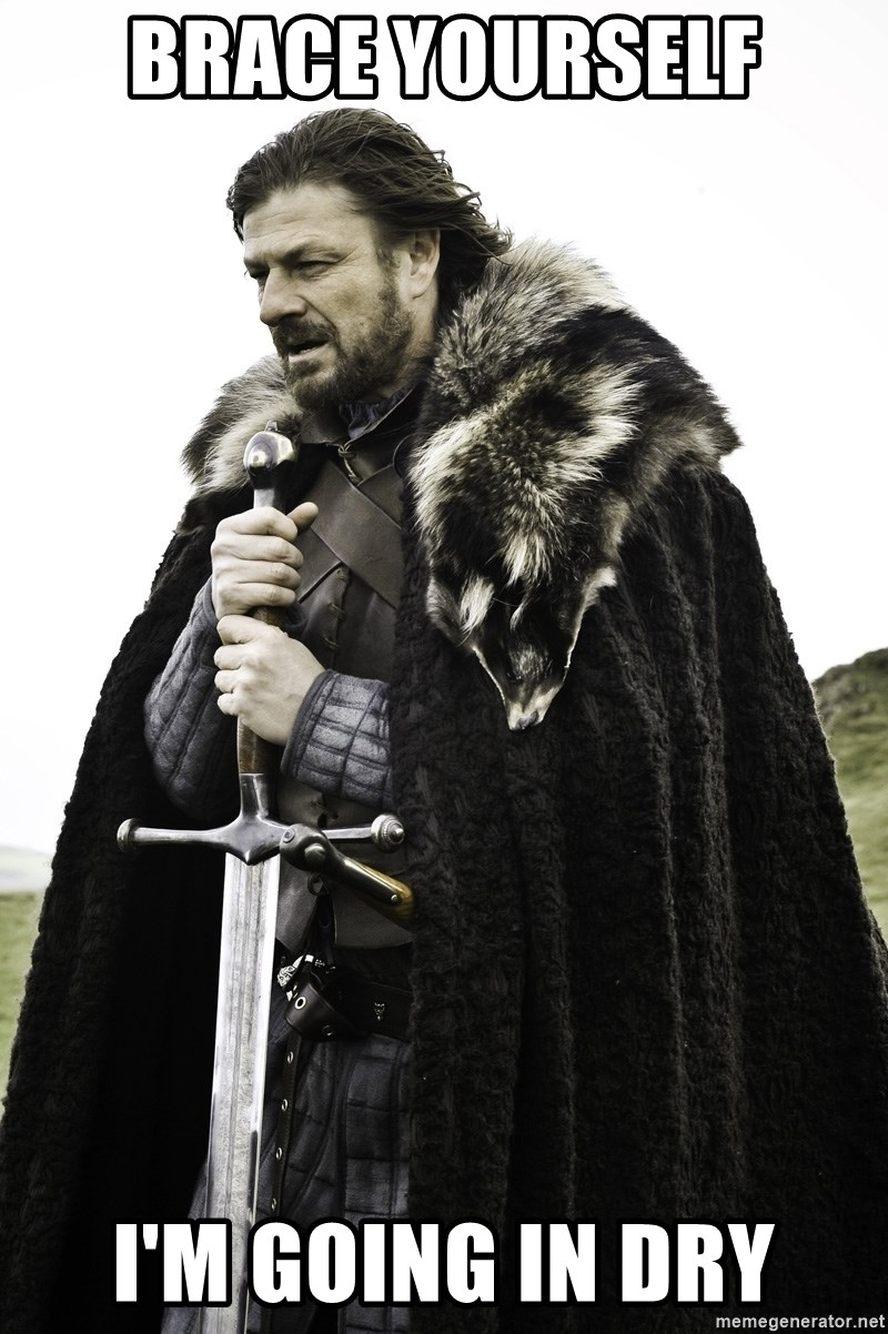 Sean Bean Game Of Thrones - Brace Yourself I'm going in dry