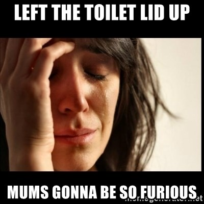 First World Problems - LEFT THE TOILET LID UP MUMS GONNA BE SO FURIOUS