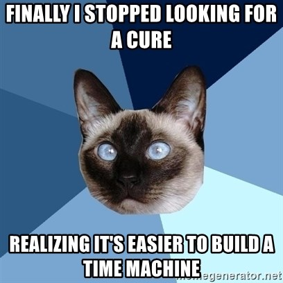 Chronic Illness Cat - Finally I stopped looking for a cure realizing it's easier to build a time machine