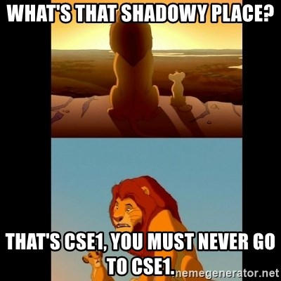 Lion King Shadowy Place - What's that shadowy place? that's cse1, you must never go to cse1.