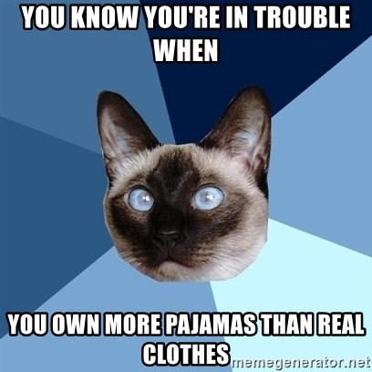 Chronic Illness Cat - you know you're in trouble when you own more pajamas than real clothes