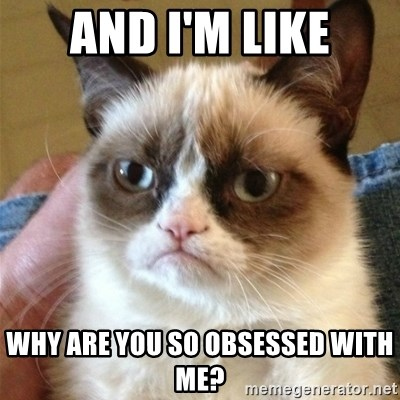 Grumpy Cat  - And I'm like why are you so obsessed with me?