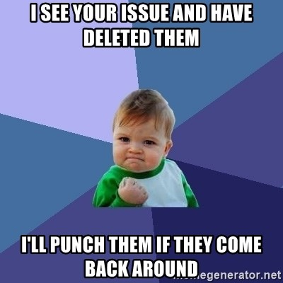 Success Kid - I see your issue and have deleted them I'll punch them if they come back around