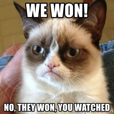 Grumpy Cat  - we won! no, they won, you watched