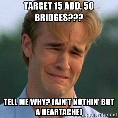 90s Problems - TARGET 15 ADD, 50 BRIDGES??? TELL ME WHY? (AIN'T NOTHIN' BUT A HEARTACHE)