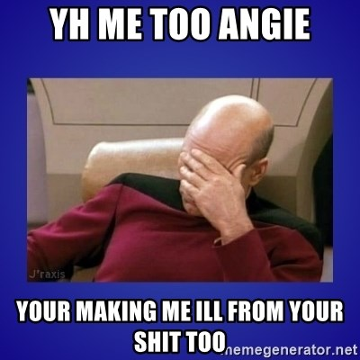 Picard facepalm  - YH ME TOO ANGIE YOUR MAKING ME ILL FROM YOUR SHIT TOO