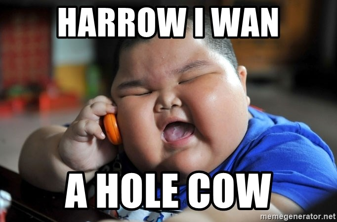 Fat Asian Kid - harrow i wan a hole Cow