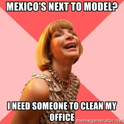 Amused Anna Wintour - Mexico's next to model? I need someone to clean my office