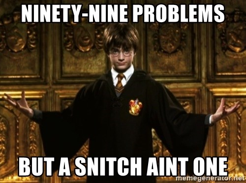 Harry Potter Come At Me Bro - NINETY-NINE PROBLEMS BUT A SNITCH AINT ONE