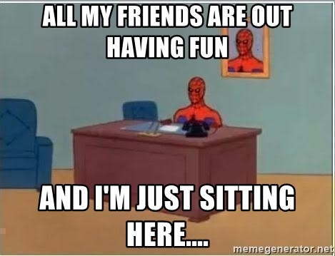 Spiderman Desk - All my friends are out having fun and i'm just sitting here....