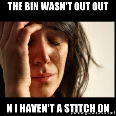 First World Problems - The bin wasn't out out N i haven't a stitch on
