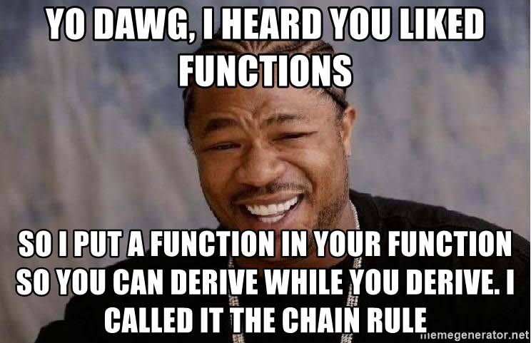 Yo Dawg - Yo dawg, I heard you liked functions so I put a function in your function so you can derive while you derive. I called it the chain rule