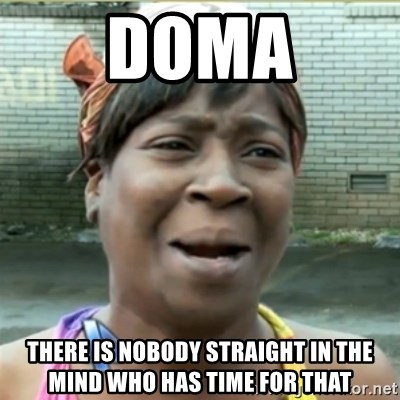 Ain't Nobody got time fo that - DOMA There is nobody straight in the mind who has time for that