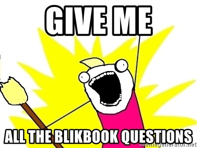 X ALL THE THINGS - Give me All the Blikbook questions