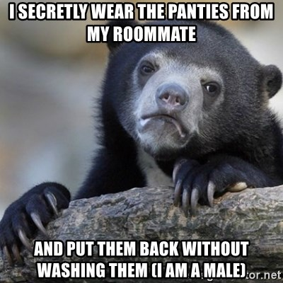 Confession Bear - i secretly wear the panties from my roommate and put them back without washing them (i am a male)