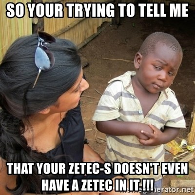 skeptical black kid - So your trying to tell me That your Zetec-s doesn't even have a Zetec in it !!!