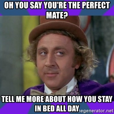 Sarcastic Wonka - oh you say you're the perfect mate? tell me more about how you stay in bed all day