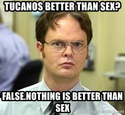 Dwight Shrute - Tucanos better than sex? False.Nothing is better than sex