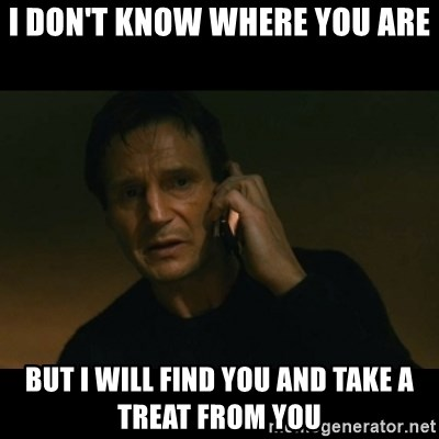 liam neeson taken - I don't know where you are BUt I will find you and take a treat from you