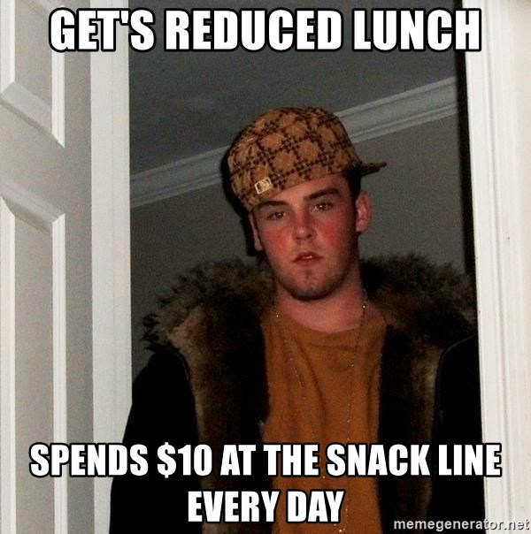 Scumbag Steve - Get's Reduced lunch spends $10 at the snack line every day