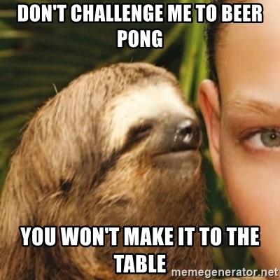 Whispering sloth - don't challenge me to beer pong you won't make it to the table