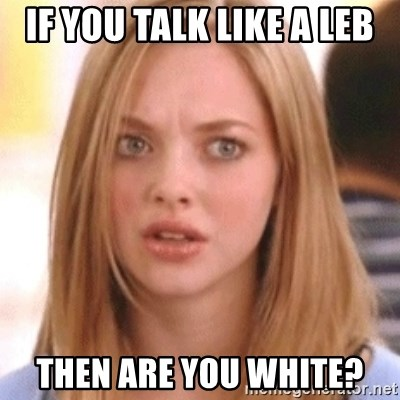 OMG KAREN - IF YOU TALK LIKE A LEB THEN ARE YOU WHITE?