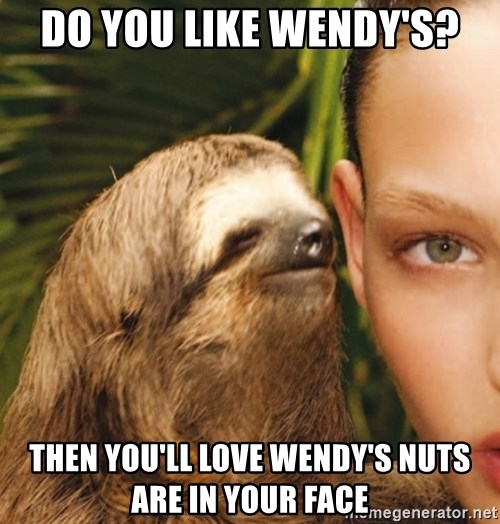 The Rape Sloth - Do You like wendy's? Then you'll love wendy's nuts are in your faCe