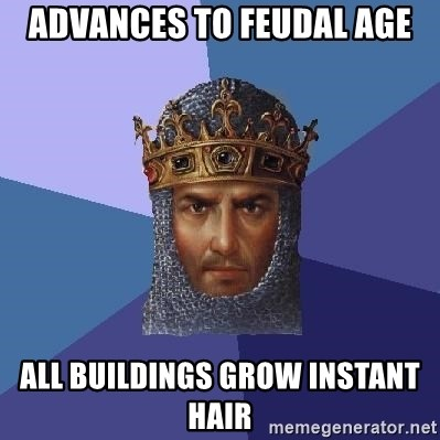 Age Of Empires - advances to feudal age all buildings grow instant hair