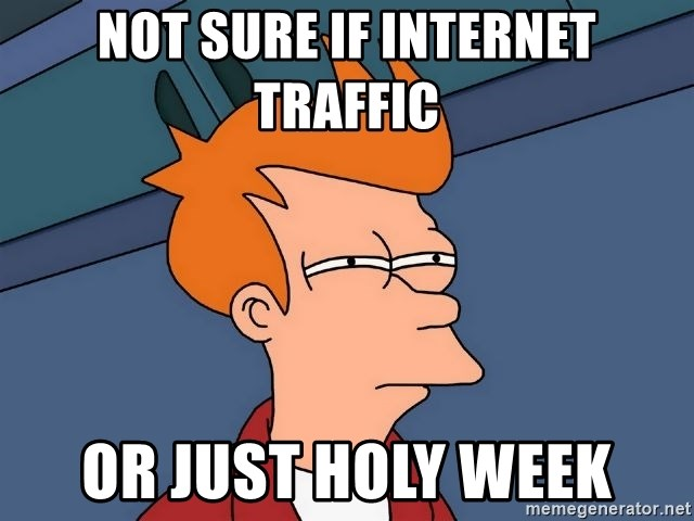 Futurama Fry - not sure if internet traffic or just holy week
