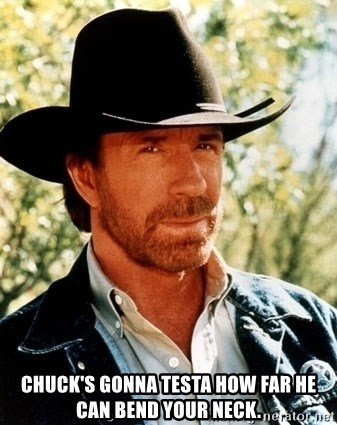 Brutal Chuck Norris -  chuck's gonna testa how far he can bend your neck.