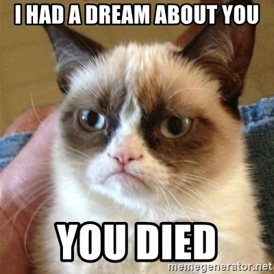 Grumpy Cat  - I HAD A DREAM ABOUT YOU YOU DIED