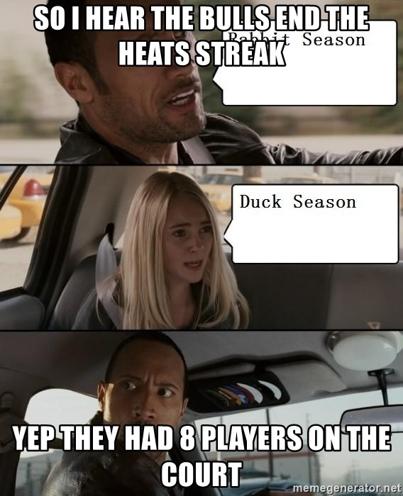 The Rock driving - So I hear the Bulls end the heats streak Yep they had 8 players on the court