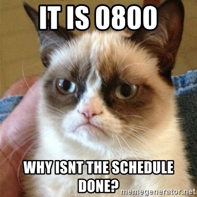 Grumpy Cat  - it is 0800 why isnt the schedule done?