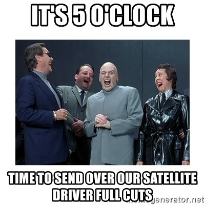 Dr. Evil Laughing - IT'S 5 O'CLOCK TIME TO SEND OVER OUR SATELLITE DRIVER FULL CUTS