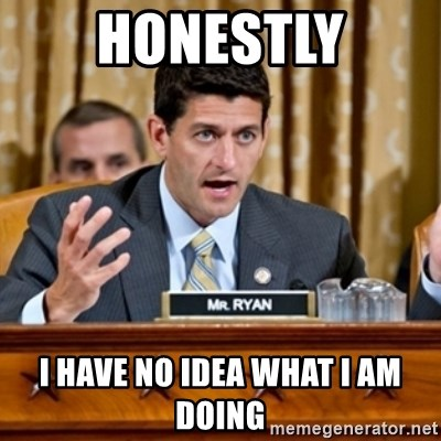 Paul Ryan Meme  - Honestly I have no idea what I am doing