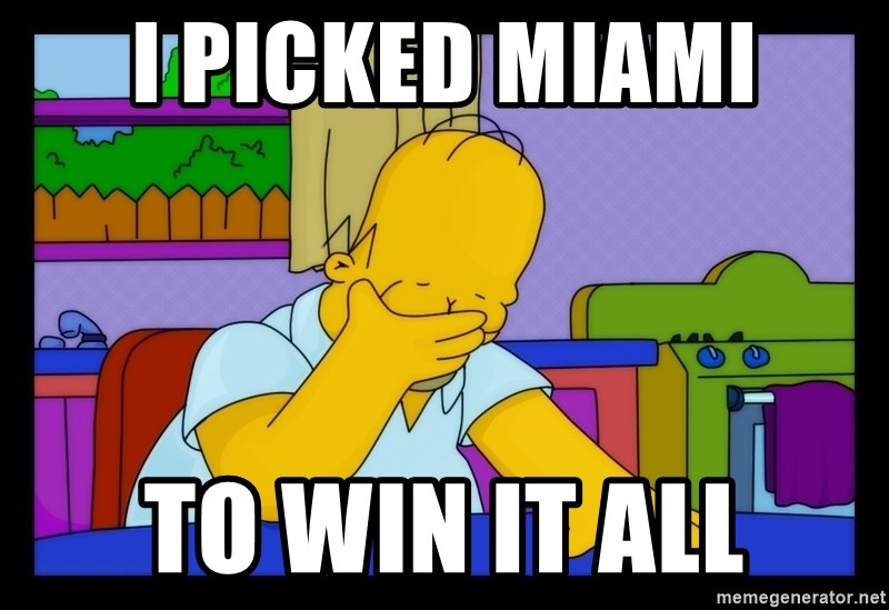 Homer Facepalm - I picked miami To win it all