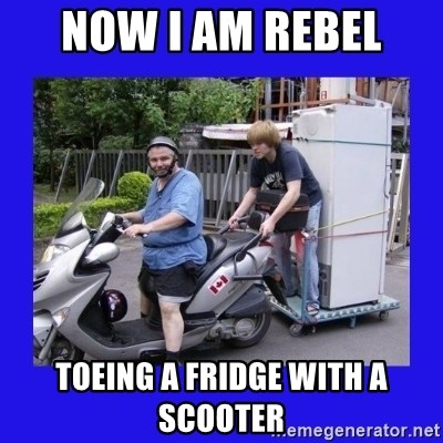 Motorfezzie - NOW I AM REBEL  TOEING A FRIDGE WITH A SCOOTER