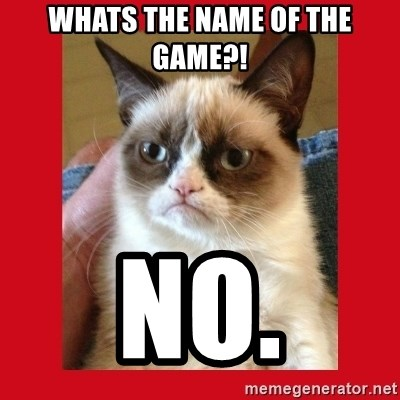 No cat - WHATS THE NAME OF THE GAME?! NO.