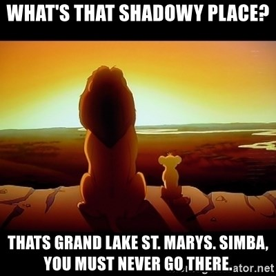 Simba - What's that shadowy place? thats grand lake St. Marys. Simba, you must never go there.