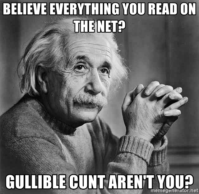 Albert Einstein - Believe everything you read on the net? Gullible cunt aren't you?